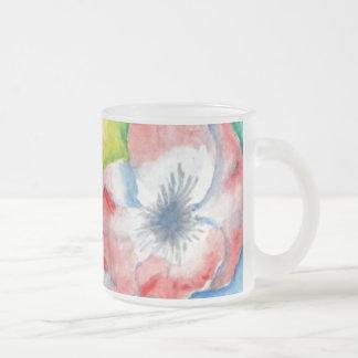 Watercolor Sweetpea Flower Art Frosted Glass Mug