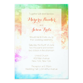 Watercolor Swirl Wedding Invitation Sunrise Multi