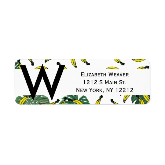 Watercolor Swiss Cheese Plant and Bananas Return Address Label