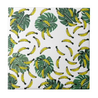 Watercolor Swiss Cheese Plant and Bananas Small Square Tile