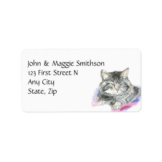 Watercolor Tabby Cat Pet Animal Custom Address Label