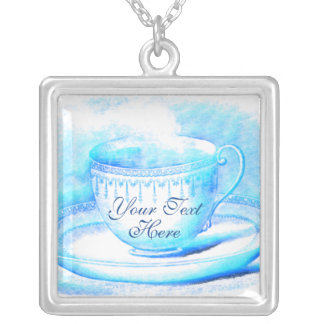 Watercolor Teacup Personalized Necklace