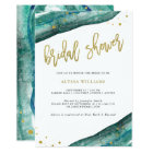 Watercolor Teal and Gold Geode Bridal Shower Card