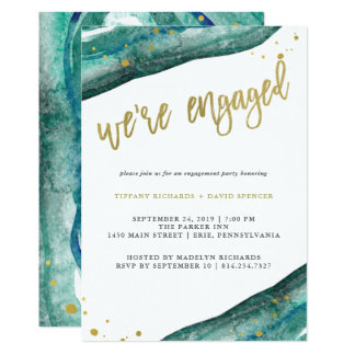 Watercolor Teal and Gold Geode Engagement Party Card