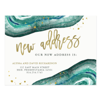 Watercolor Teal and Gold Geode | New Address Postcard
