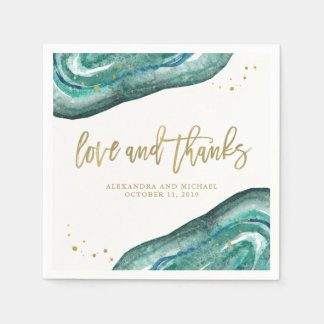 Watercolor Teal and Gold Geode Wedding Paper Napkins