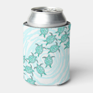 Watercolor Teal Sea Turtles on Swirly Stripes Can Cooler