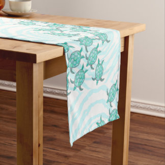 Watercolor Teal Sea Turtles on Swirly Stripes Short Table Runner