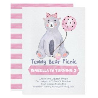 Watercolor Teddy Bear Picnic Birthday Invitation