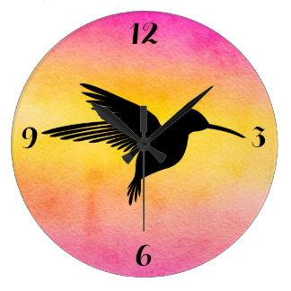 Watercolor Textured Hummingbird Colibri Clock