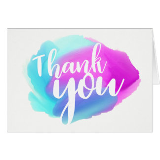 Watercolor Thank You Blue, Purple & Turquoise Card