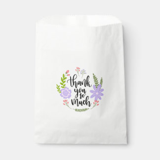 Watercolor Thank You Floral Purple Flowers Leaves Favour Bags