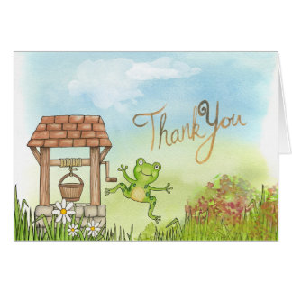 Watercolor Thank You Notecard with Wishing Well Note Card
