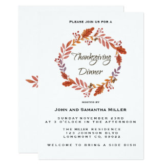 Watercolor Thanksgiving Invitation