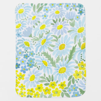 Watercolor . The flowers of the field . Chamomile Baby Blanket