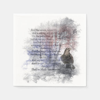 Watercolor The Raven Edgar Allan Poe Poem Disposable Napkins