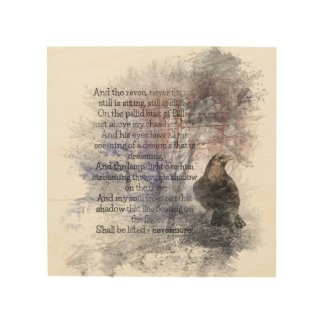 Watercolor The Raven Edgar Allan Poe Poem Wood Wall Art