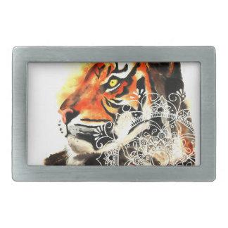 Watercolor Tiger Mandala Belt Buckles