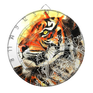 Watercolor Tiger Mandala Dartboard
