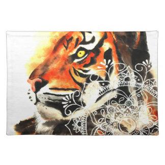 Watercolor Tiger Mandala Placemat