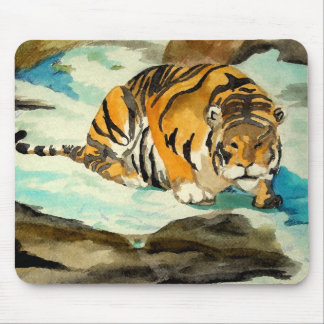 Watercolor Tiger Mouse Pad