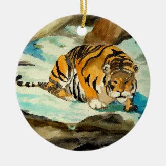 Watercolor Tiger Round Ceramic Decoration