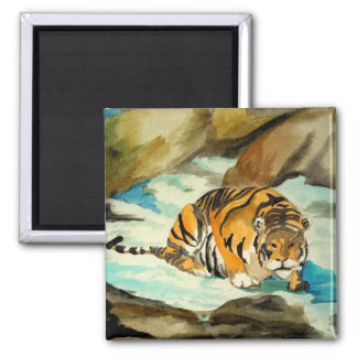 Watercolor Tiger Square Magnet