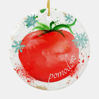 Watercolor tomato Italian food Christmas ornament