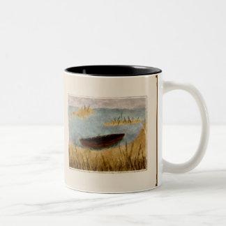 Watercolor Tranquil Boat Scene Mug