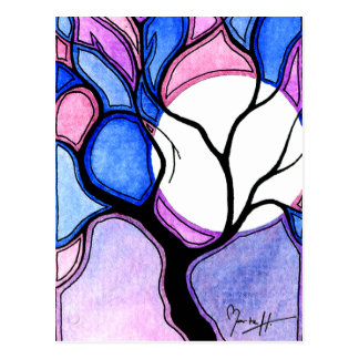 Watercolor Tree and Moon - Blue and Pink Postcard