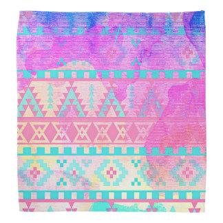 Watercolor Tribal Aztec Pink and Aqua Pattern Kerchief