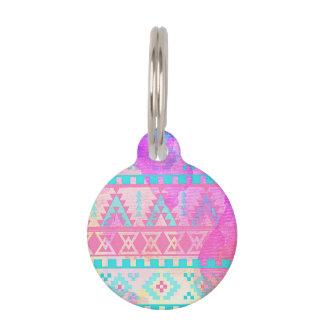 Watercolor Tribal Aztec Pink and Aqua Pattern Pet Tags