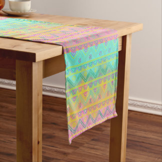 Watercolor Tribal Chic Geometric Table Runner
