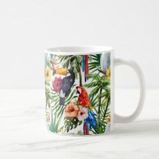 Watercolor tropical birds and foliage pattern coffee mug