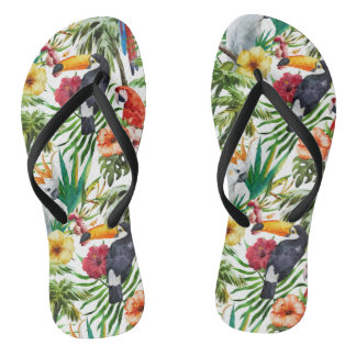 Watercolor tropical birds and foliage pattern flip flops