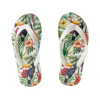 Watercolor tropical birds and foliage pattern kid's flip flops