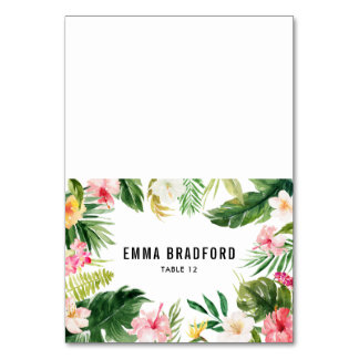 Watercolor Tropical Floral Frame Place Card