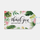 Watercolor Tropical Floral Frame Thank You Gift Tags