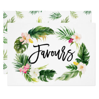 Watercolor Tropical Floral Wreath Favours Sign Card