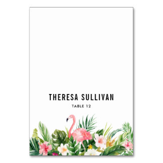 Watercolor Tropical Flowers & Flamingo Place Card