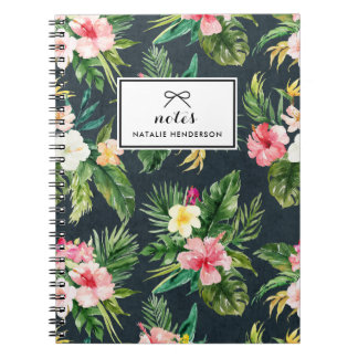 Watercolor Tropical Flowers on Chalkboard Custom Notebook