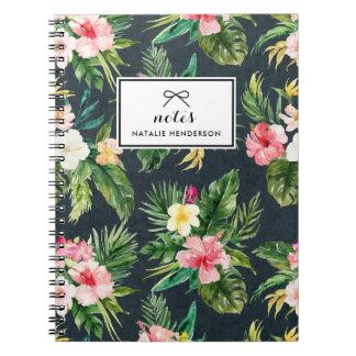 Watercolor Tropical Flowers on Chalkboard Custom Spiral Note Book