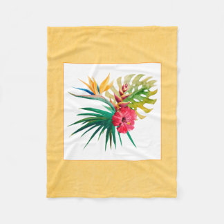 Watercolor Tropical Flowers Small Blanket