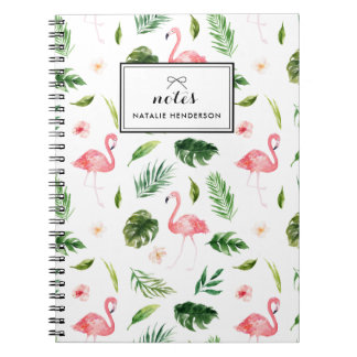 Watercolor Tropical Leaves and Flamingo Custom Notebooks