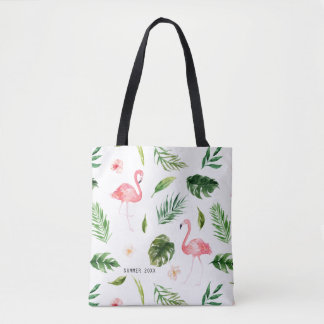 Watercolor Tropical Leaves and Flamingo Tote Bag