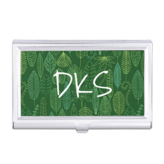 Watercolor Tropical Leaves | Monogram Business Card Holder