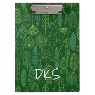 Watercolor Tropical Leaves | Monogram Clipboard