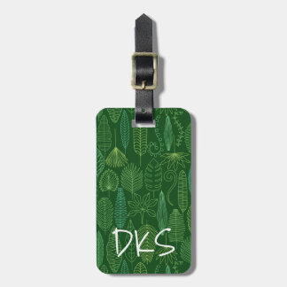 Watercolor Tropical Leaves | Monogram Luggage Tag