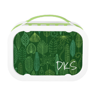 Watercolor Tropical Leaves | Monogram Lunch Box