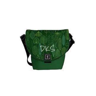 Watercolor Tropical Leaves | Monogram Messenger Bag
